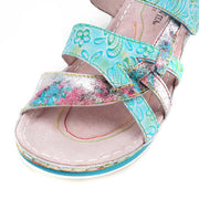 122221 LAURA VITA BRCUELO 0591  Retro Genuine Leather Handmade PAINTED VELCRO Original Comfortable SANDAL