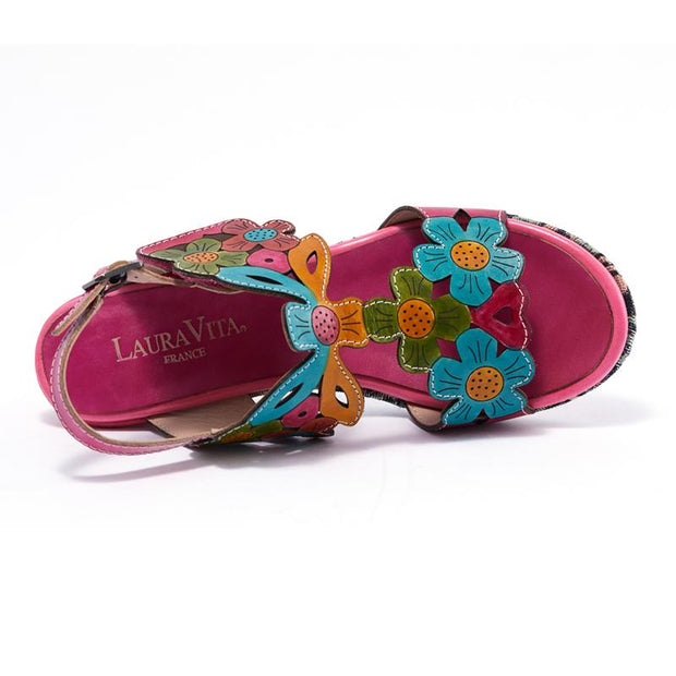 122238 LAURA VITA BECLFORTO 919  LASER Genuine Leather Handmade PAINTED BUCKLE CHIC Comfortable SANDAL