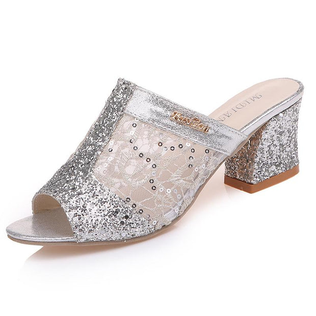 123323 Women Fashion Open Toe Slippers Bling Bling Glitter Mesh PU Leather Summer  Heel Pumps Sandals
