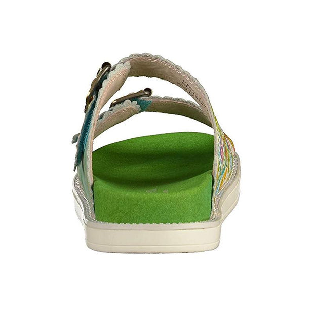Facucono 02 Retro Genuine Leather Handmade PAINTED VELCRO Original Comfortable SANDAL