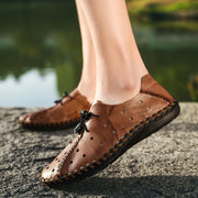 Men Large Size Hand Stitching Leather Hole Breathable Collapsible Heel Casual Flats