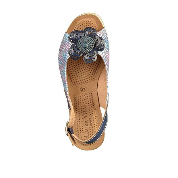 124039 LAURA VITA Facyo 08 Retro CHIC Genuine Leather Handmade PAINTED LASER SANDAL