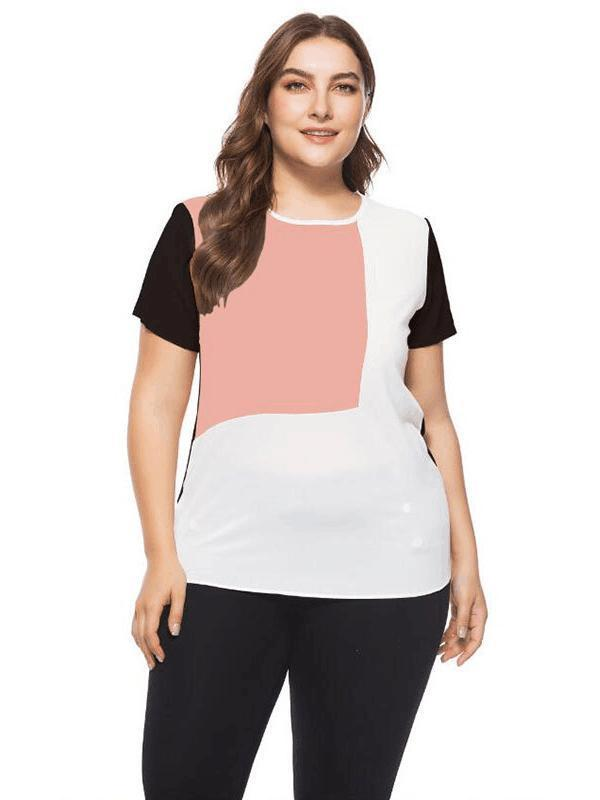 European and American large size women's tricolor patchwork short sleeve T-shirt 124365