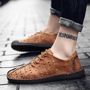 Men Summer Breathable Leather Footwear Sneakers Flat Shoes Casual Loafers Shoes