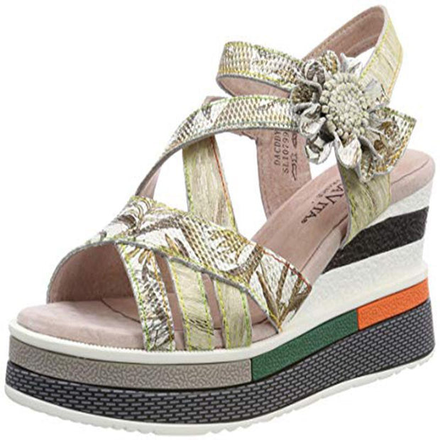 124504 LAURA VITA Dacddyo 039 Retro Clover Pattern Hand-colored Genuine Leather VELCRO sandal shoes