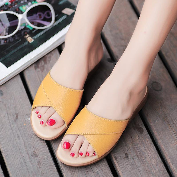 Women's fashion trend flat with breathable comfortable slippers 124191