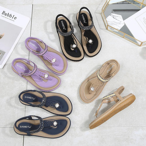 Women Summer Cool Woven Flats Shoes Female Large Size Sandals