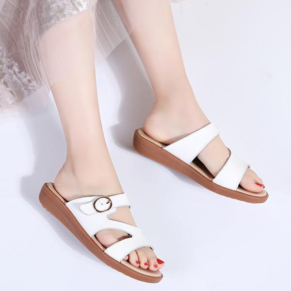 Ladies fashion leather soft word drag skid beef tendon bottom size sandals 126981
