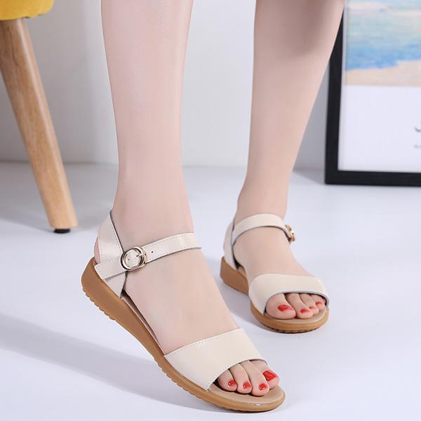 Fashion sandals, ladies solid color casual outdoor indoor large size flat summer shoes 126957