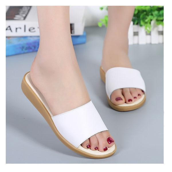 Women's large size summer breathable slippers leather word drag 126304