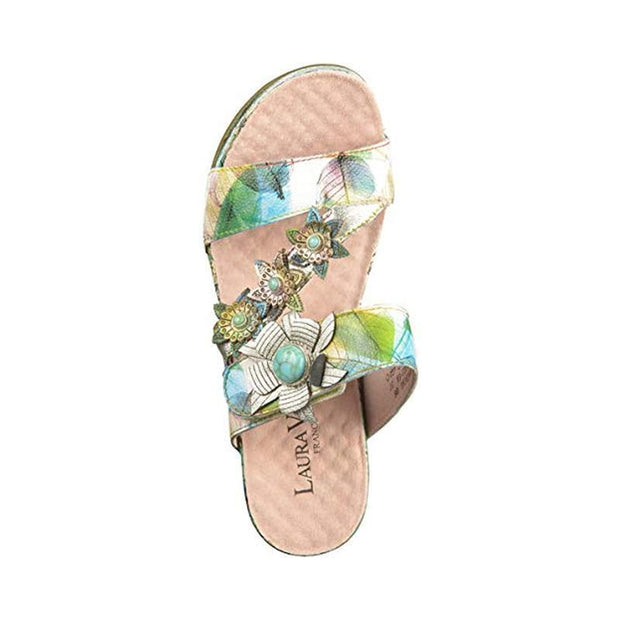 LAURA VITA Facdiao 06 Retro CHIC Genuine Leather Handmade PAINTED VELCRO LASER SANDAL 124045