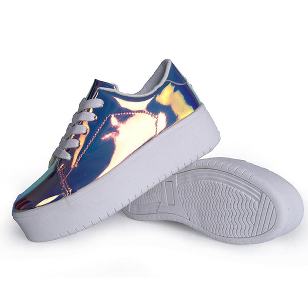 Women Mirror Metallic Shoes Lace Up Low Top Sneaker Fashion  Sequins Sneaker 125812