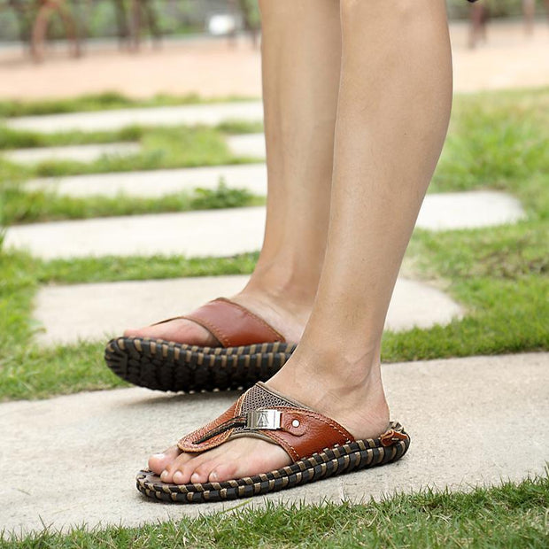 Men's casual trend sewing line outdoor flat shoes slippers 126016