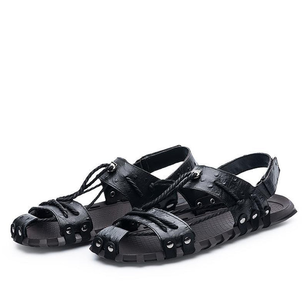 Large Size Men Microfiber Leather Hollow Out Casual Sandals 124461