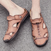 Large Size Men Hand Stitching Leather Anti-collision Soft Sole Casual Sandals 124396