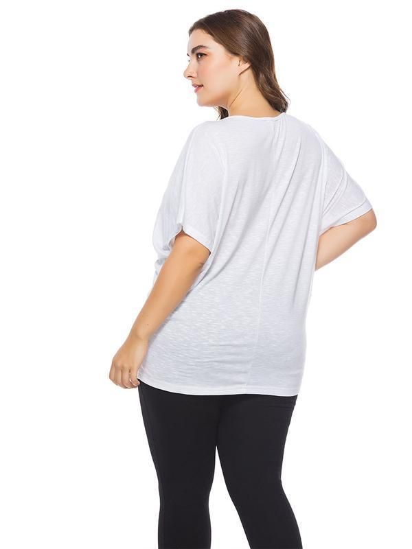 Ebay amazon hot style large size European and American women's wear bat-sleeved t-shirts 124968