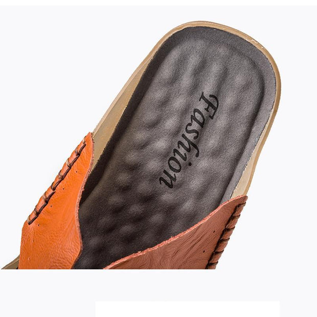 Men's Outdoor Summer Leather  Sandals Personality Fashion Breathable Slippers 127446