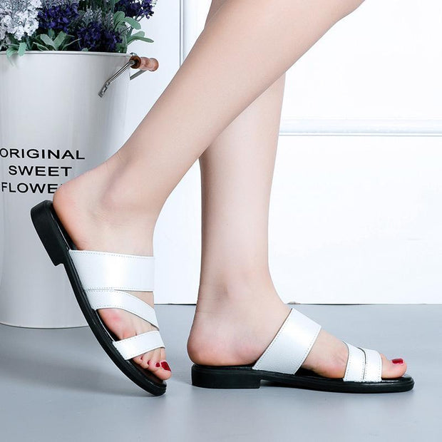 Ladies Summer Soft Bottom Elegant Shoes Open Toe Slip Outdoor Beach Flat Sandals 127130