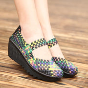 Summer Women Platform Shoes Woven loafers Handmade Slip On Nylon Wedges Shoes Female Footwear 127157