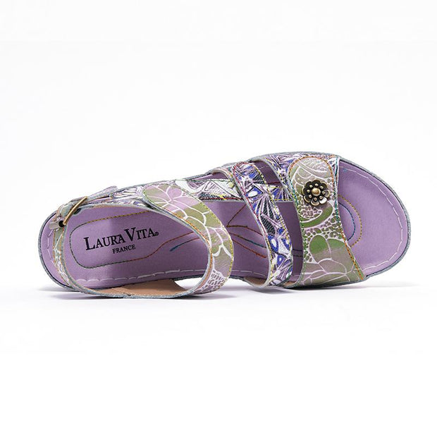 122232 LAURA VITA BRUEL 068  Retro Genuine Leather Handmade PAINTED VELCRO Original Comfortable SANDAL
