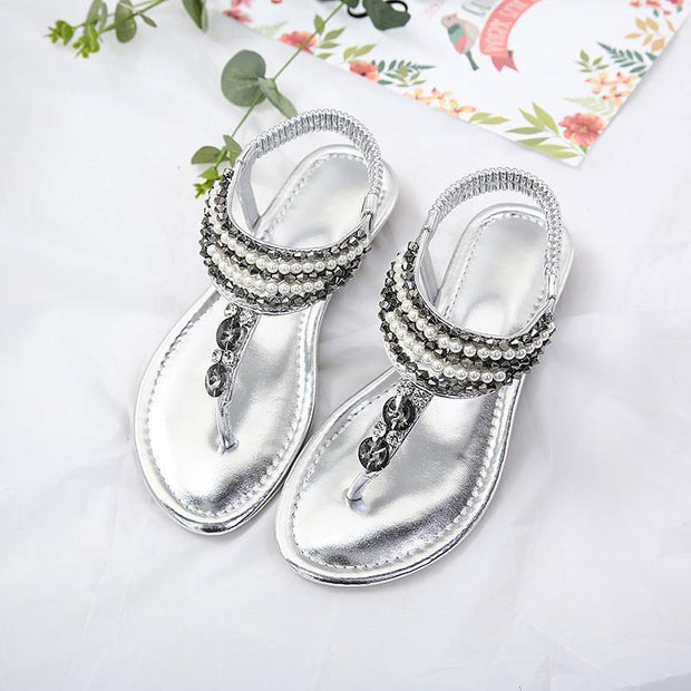Women Comfort Handmade Bohemian Beaded Beach Sandals  127554