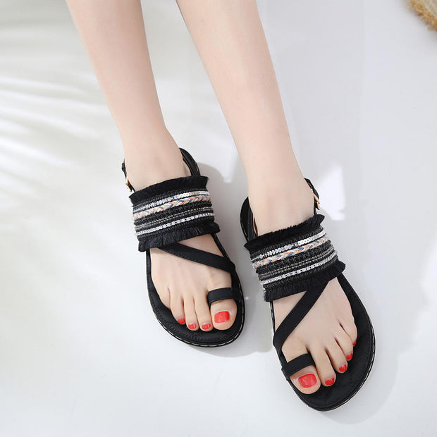 Women Handmade Buckle Strap Open Toe Summer Bohemian Flat Sandals 127328