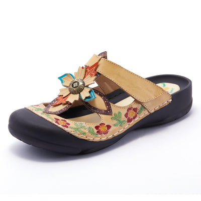 LAURA VITA JUMENT Retro Genuine Leather Handmade PAINTED VELCRO Original Comfortable SANDAL 122276