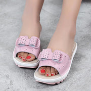 Ladies summer slip open toe leather bow home slippers breathable sandals 128121