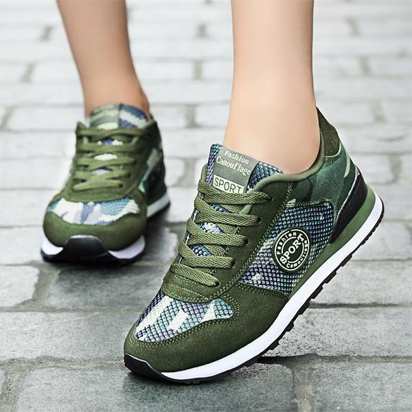 Ladies casual camouflage mesh outdoor comfortable breathable lightweight military training sneakers 127415