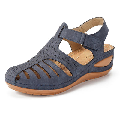 Women Hollow Out Lightweight Pure Color Breathable Hook Loop Wedges Sandals