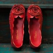 Women's Embroidery Totem Flower Single Shoe Soft-soled Cowhide Shoe 128558