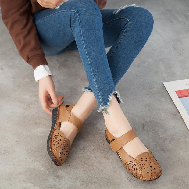 Lady Dongdong sandals embroidered retro fashion comfortable soft sole leather shoes 126186