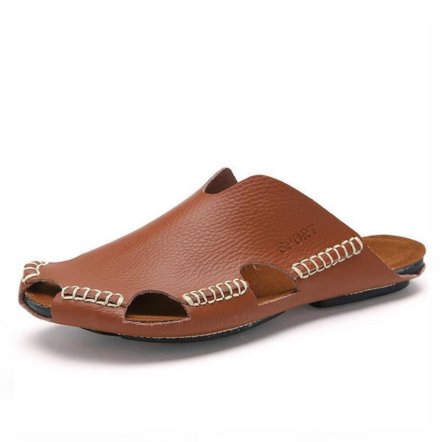 Men Stitching Hollow Out Soft Sandals Breathable Backless Loafers 128236