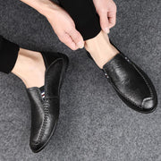 Men Moccasin Slippers Cowhide Leather Upper Fashion Style Driving Shoes 128865