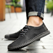 Men British Style Retro Soft Sole Lace Up Flat Cap toe Shoes