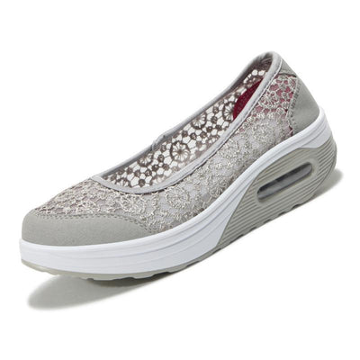 Women's Lace Breathable Slip on Platform Shoes