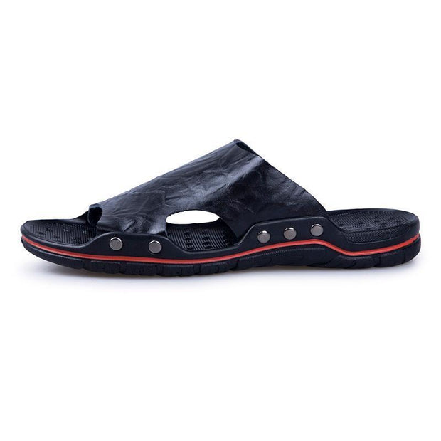 Summer Shoes Men's Slippers Genuine Leather Beach Sandals Men Casual Shoes 129982