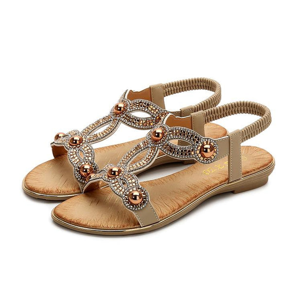 Women's Summer Elastic Slingback Strap Beach Shoes Diamond Bohemian Sandals 129997