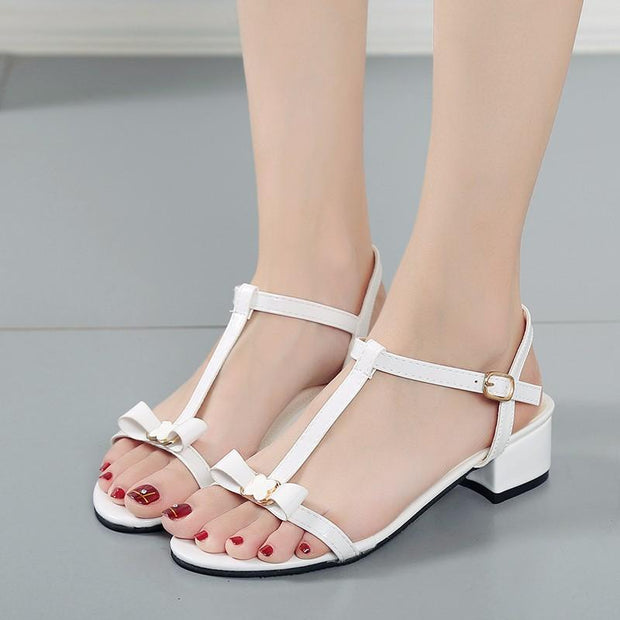 Women Spring and summer wild thin straps open toe with sandals bow 119407