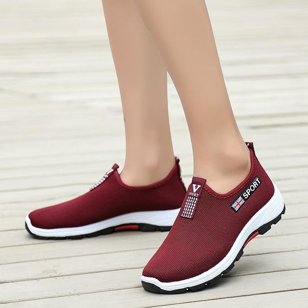 Women's Sports And Leisure Shoes Flying Woven Shoes, Hiking Shoes, Ladies, Middle-Aged Walking Shoes 119434