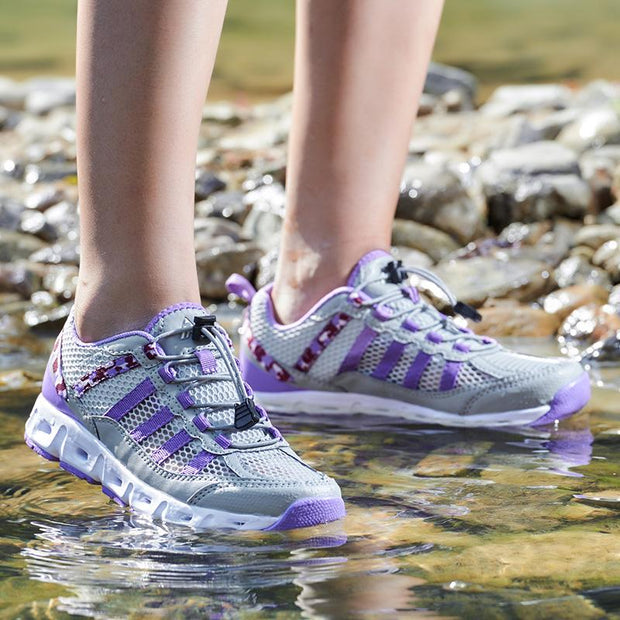 Women Mesh Splicing Comfy Elastic Lace Up Water Upstream Shoes 129119