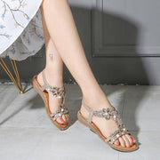 Women's Summer Diamond Flower Elastic Slingback Strap Bohemian Sandals 129843