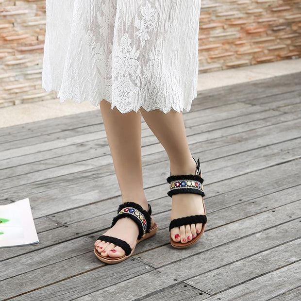 Women's Breathable Ankle Strap Tassel Bohemian Casual Sandals 128585