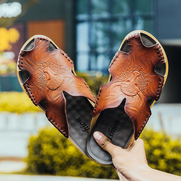 Men's casual sandals leather slippers fashionable men's shoes 127820