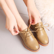 Women Comfy Vintage Round Toe Lace Up Flat Shoes 131079