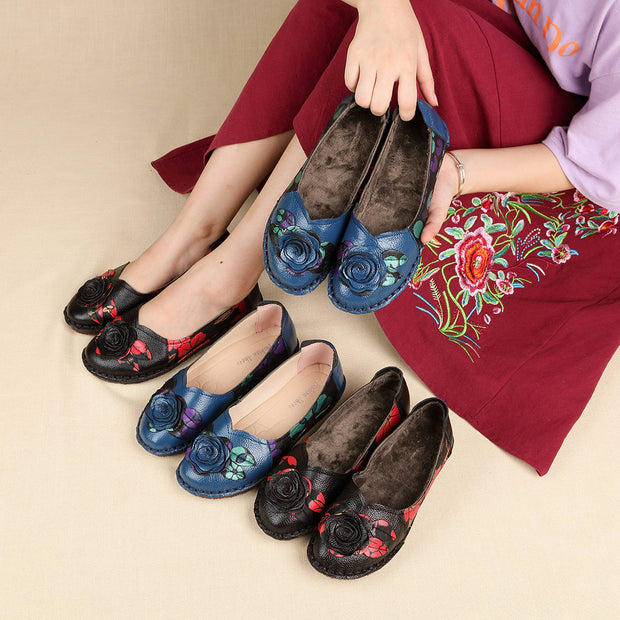 Women Comfy Soft Flowers Genuine Leather Slip On Flats 131078