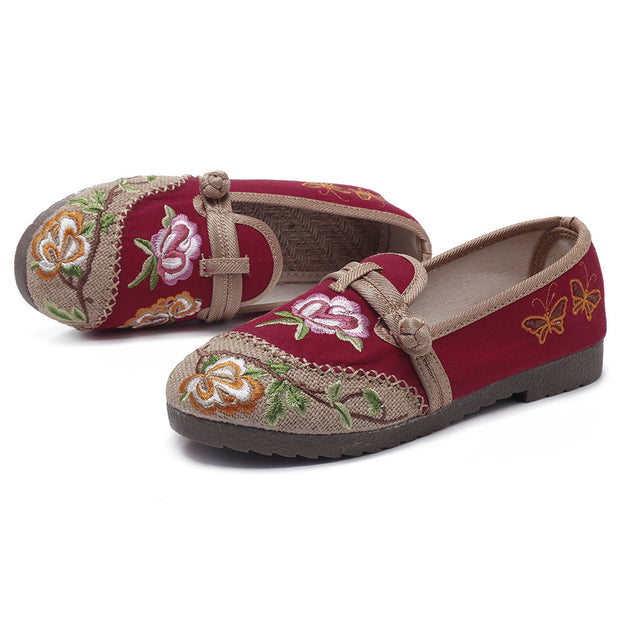 Women Casual Folkways Lightweight Flower Embroidered Cotton Flat Shoes 131082