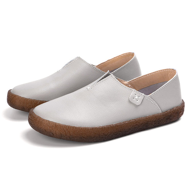 Women Comfy Soft Cow Leather Slip On Flat Loafers 131081