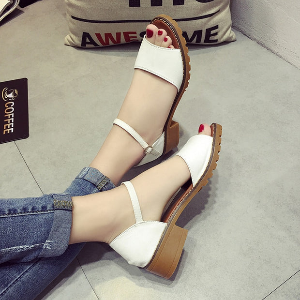 Women Sandals Pu Suede Retro High Heels Square Heel Woman Buckle Shoes