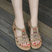 Bohemia Comfy Bead Weave Buckle Flat Sandals for Women 131056